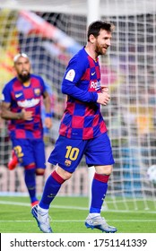 BARCELONA - JAN 30: Messi celebrates a goal at the Spanish Copa del Rey match between FC Barcelona and CD Leganes at the Camp Nou Stadium on January 30, 2020 in Barcelona, Spain.