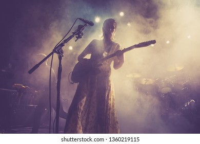 BARCELONA - JAN 5: Wolf Alice (indie rock music band) perform in concert at Apolo venue on January 5, 2018 in Barcelona, Spain.