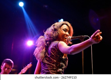 BARCELONA - JAN 9: The Excitements (soul band) performs at Apolo venue on January 9, 2015 in Barcelona, Spain.