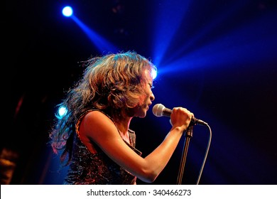 BARCELONA - JAN 9: The singer of The Excitements (soul band) performs at Apolo venue on January 9, 2015 in Barcelona, Spain.