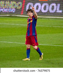 BARCELONA - JANUARY 12: Leo Messi (10) of Barcelona celebrates a goal during the football match between FC Barcelona and Real Betis, 5 - 0,on January 12, 2011 in Barcelona (Spain).