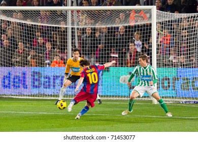 BARCELONA - JANUARY 12: Nou Camp football stadium, soccer Spanish Cup: FC Barcelona - Real Betis, 5 - 0. In the picture, Leo Messi shooting a goal. January 12, 2011 in Barcelona (Spain).