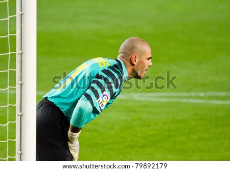 a01c0a19a1f BARCELONA JANUARY 12 Victor Valdes Goalkeeper Stock Photo (Edit Now ...