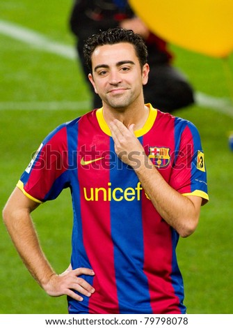 bfba6db2a6b BARCELONA - JANUARY 12: Xavi Hernandez (6) during Spanish Cup match between FC  Barcelona and Real Betis, 5 - 0, in Camp Nou Stadium. January 12, 2011 in  ...