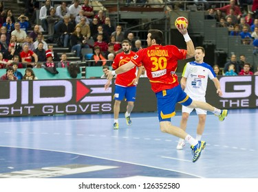 BARCELONA - JANUARY 25: Gedeon Guardiola of Spain in action at the Handball World Championship semi-final between Spain and Slovenia, final score 26-22, on January 25, 2013, in Barcelona, Spain.