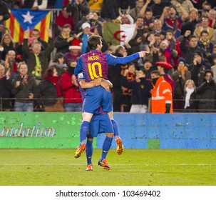 BARCELONA - JANUARY 4: Leo Messi celebrating his goal during the Spanish Cup match between FC Barcelona and Osasuna, final score 4 - 0, on January 4, 2012 in Camp Nou stadium, Barcelona, Spain.