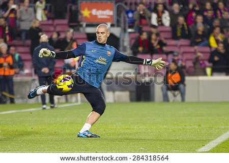 dc164a0dc7b BARCELONA - JANUARY 4  Victor Valdes of FCB in action at the Spanish League  match