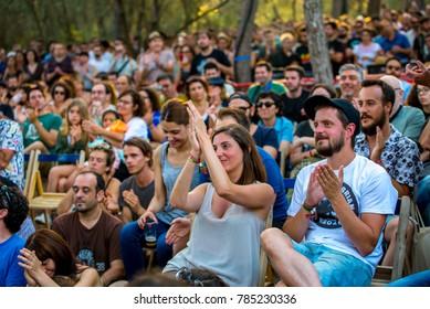 BARCELONA - JUL 1: People watch a concert at Vida Festival on July 1, 2016 in Barcelona, Spain.