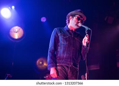BARCELONA - JUL 11: Eels (band) perform in concert at St. Jordi Club stage on Jul 11, 2018 in Barcelona, Spain.