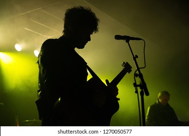 BARCELONA - JUL 16: Black Rebel Motorcycle Club (rock band) perform in concert at Apolo stage on Jul 16, 2018 in Barcelona, Spain.