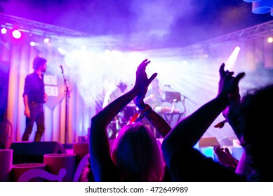 BARCELONA - JUL 2: The crowd applaud in a concert at Vida Festival on July 2, 2016 in Barcelona, Spain.