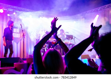 BARCELONA - JUL 2: The crowd in a concert at Vida Festival on July 2, 2016 in Barcelona, Spain.