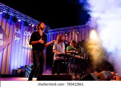 BARCELONA - JUL 2: Joe Crepusculo (band) perform in concert at Vida Festival on July 2, 2016 in Barcelona, Spain.