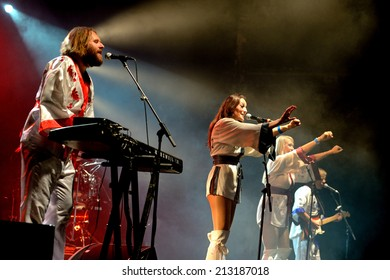 BARCELONA - JUL 24: Bjorn Again (band tribute to ABBA) performs at Golden Revival Festival on July 24, 2014 in Barcelona, Spain.