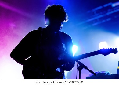 BARCELONA - JUL 28: Alex Scally, guitarist of Beach House band, performs at Poble Espanyol on July 28, 2011 in Barcelona, Spain.