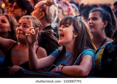 BARCELONA - JUL 28: Music fans watch a concert at Future Beats Festival on July 28, 2019 in Barcelona, Spain.