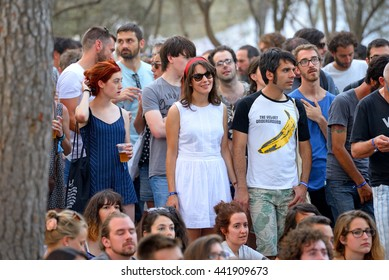 BARCELONA - JUL 3: People from the audience watch a concert at Vida Festival on July 3, 2015 in Barcelona, Spain.
