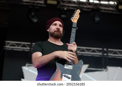 BARCELONA - JUL 9: Amaral (music band that consists of Eva Amaral and Juan Aguirre) perform at Cruïlla festival on July 9, 2021 in Barcelona, Spain.
