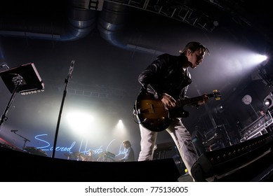 BARCELONA - JUL 9: Foster The People (indie rock band) perform in concert at Razzmatazz stage on July 9, 2017 in Barcelona, Spain.