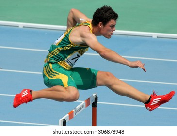 BARCELONA - JULY, 11: Bernardus Pretorius of South Africa during  400m hurdles event of the 20th World Junior Athletics Championships at the Olympic Stadium on July 11, 2012 in Barcelona, Spain
