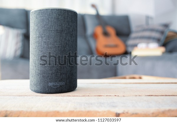 BARCELONA - JULY 2018: Amazon Echo Smart Home Alexa Voice Service in a living room on July 20, 2018 in Barcelona.