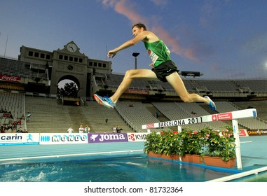 BARCELONA - JULY 22: Ben Bruce of USA in action on 3000m steeplechase Event of Barcelona Athletics meeting at the Olympic Stadium on July 22, 2011 in Barcelona, Spain
