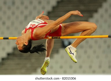 BARCELONA - JULY 22: Venelina Veneva-Mateeva of Bulgaria in action during High Jump Event of Barcelona Athletics meeting at the Olympic Stadium on July 22, 2011 in Barcelona, Spain