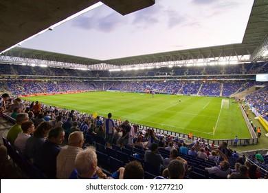 BARCELONA - JULY 27: Cornella stadium during the Ciutat de Barcelona Trophy match between RCD Espanyol and Boca Juniors on July 27, 2011 in Cornella, Barcelona, Spain. Final score, 3-1.