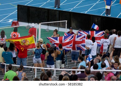 BARCELONA - JULY 28: European Athletics Championships Barcelona 2010. In the picture, some supporters in the Olympic Stadium Lluis Companys. July 28, 2010 in Barcelona (Spain).