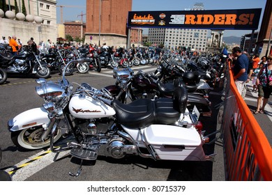 BARCELONA - JULY 9: Harley-Davidson Motorcycles parked during the Barcelona Harley Days event on the city streets on July 9, 2011 in Barcelona, Spain