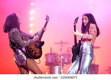 BARCELONA - JUN 1: Haim (indie pop band) perform in concert at Primavera Sound Festival on June 1, 2018 in Barcelona, Spain.