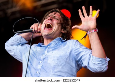 BARCELONA - JUN 1: John Maus (band) perform in concert at Primavera Sound Festival on June 1, 2018 in Barcelona, Spain.