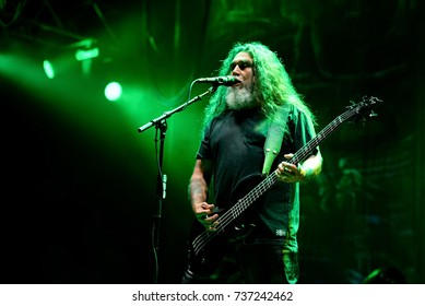 BARCELONA - JUN 1: Slayer (heavy metal music band) perform in concert at Primavera Sound 2017 Festival on June 1, 2017 in Barcelona, Spain.