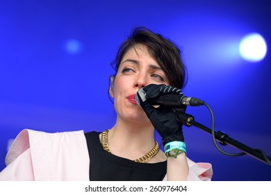 BARCELONA - JUN 12: BFlecha (band) show at Sonar Festival on June 12, 2014 in Barcelona, Spain.