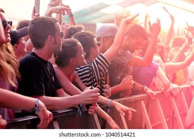 BARCELONA - JUN 15: The crowd in a concert at Sonar Festival on June 15, 2017 in Barcelona, Spain.