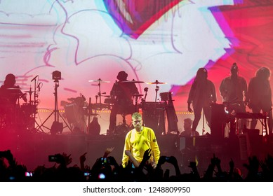 BARCELONA - JUN 15: Gorillaz (band) perform in concert at Sonar Festival on June 15, 2018 in Barcelona, Spain.