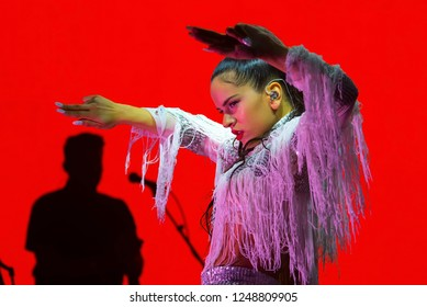 BARCELONA - JUN 15: Rosalia (flamenco singer) performs in a concert at Sonar Festival on June 15, 2018 in Barcelona, Spain.
