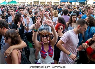 BARCELONA - JUN 17: The crowd in a concert at Sonar Festival on June 17, 2016 in Barcelona, Spain.
