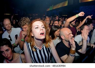 BARCELONA - JUN 19: Crowd dance in a concert at Sonar Festival on June 19, 2015 in Barcelona, Spain.