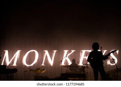 BARCELONA - JUN 2: Arctic Monkeys (rock band) perform in concert at Primavera Sound Festival on June 2, 2018 in Barcelona, Spain.