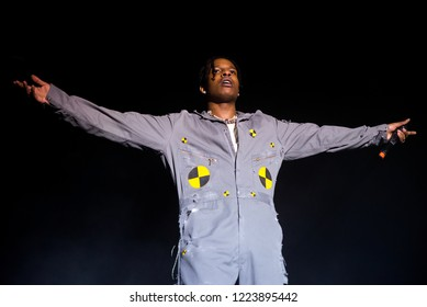 BARCELONA - JUN 2: ASAP Rocky (hip hop band) perform in concert at Primavera Sound Festival on June 2, 2018 in Barcelona, Spain.