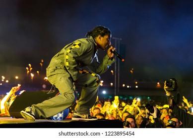 BARCELONA - JUN 2: ASAP Rocky (hip hop band) perform in concert at Primavera Sound Festival on June 2, 2018 in Barcelona, Spain.