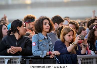 BARCELONA - JUN 2: The audience in a concert at Primavera Sound 2016 Festival on June 2, 2016 in Barcelona, Spain.