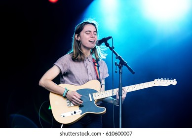 BARCELONA - JUN 2: Julien Baker (folk singer and songwriter) performs in concert at Primavera Sound 2016 Festival on June 2, 2016 in Barcelona, Spain.