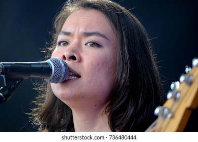 BARCELONA - JUN 2: Mitski Miyawaki (japanese songwriter and bass player) performs in concert at Primavera Sound 2017 Festival on June 2, 2017 in Barcelona, Spain.