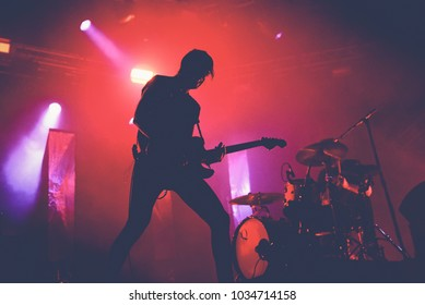 BARCELONA - JUN 3: Japandroids (rock music band) perform in concert at Primavera Sound 2017 Festival on June 3, 2017 in Barcelona, Spain.
