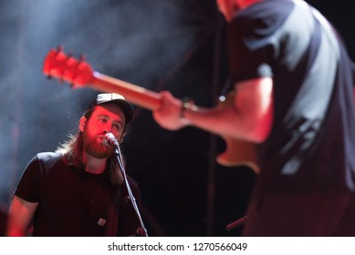 BARCELONA - JUN 30: Hookworms (electronic rock band) perform in concert at Vida Festival on June 30, 2018 in Barcelona, Spain.