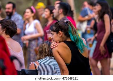 BARCELONA - JUN 30: People at Vida Festival on June 30, 2016 in Barcelona, Spain.