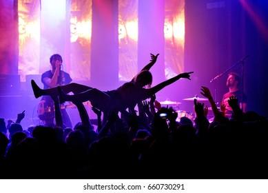 BARCELONA - JUN 4: Crowd in a rock concert at Primavera Sound 2017 Festival on June 4, 2017 in Barcelona, Spain.