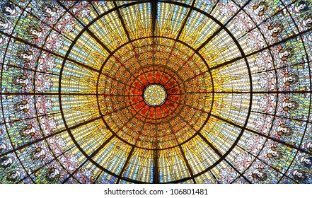 BARCELONA - JUNE 02: Palau de la Musica Catalana skylight of stained glass designed by Antoni Rigalt whose centerpiece is an inverted dome in shades of gold, on June 2, 2012 in Barcelona